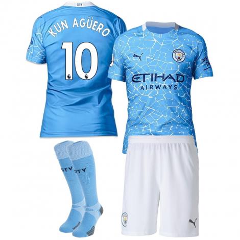 Домашняя детская форма Манчестер Сити сезона 2020-21 Агуэро 10 (футболка + шорты + гетры)