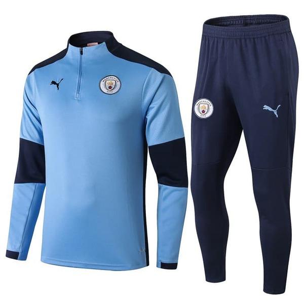 Детский тренировочный костюм Манчестер Сити голубой с лимонным 2020-2021